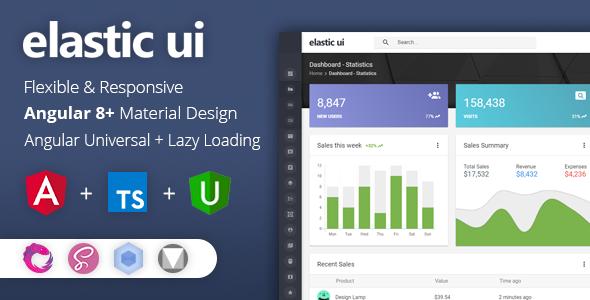 elastyczny interfejs użytkownika - Angular 8 Material Design & Redux Admin Template