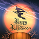 Happy Halloween Poster with Pumpkin and Flying Witch - GraphicRiver Item for Sale