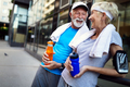 Happy mature people couple exercising for healthy life - PhotoDune Item for Sale