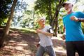 Beautiful mature couple jogging in nature living healthy - PhotoDune Item for Sale