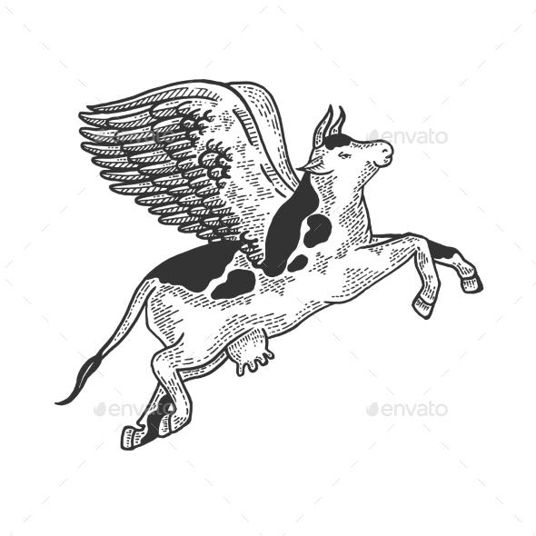 Flying Cow Farm Animal Engraving Vector
