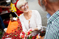 Portrait of beautiful elderly couple in market buing food - PhotoDune Item for Sale