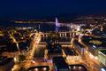 Aerial  night view of Geneva city water fountain in Switzerland - PhotoDune Item for Sale