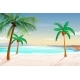 Beach with Palm Trees White Sand and Turquoise - GraphicRiver Item for Sale