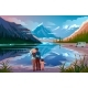 Happy Family Standing Near Lake Looking Away - GraphicRiver Item for Sale