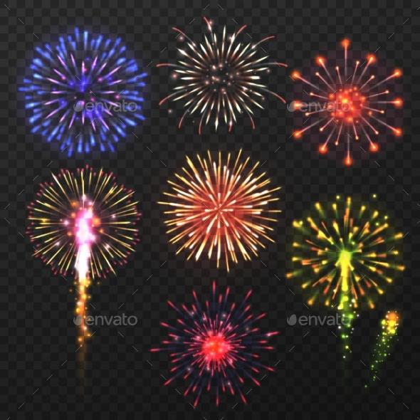 Realistic Fireworks Carnival Multicolored