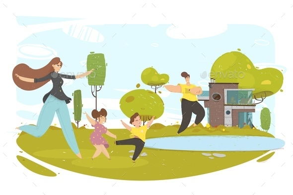 Parents and Kids Running in Park or House Back Yard