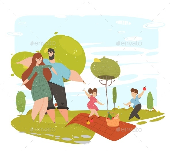 Happy Loving Family Spends Time on Picnic in Park