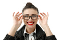 Portrait of happy smiling young cheerful businesswoman in glasses, isolated over white background - PhotoDune Item for Sale