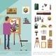Flat Art Studio Colorful Concept - GraphicRiver Item for Sale