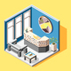 Hostel Reception Isometric Background - GraphicRiver Item for Sale