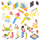 Kindergarten Isometric Elements Collection - GraphicRiver Item for Sale