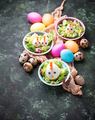 Salad with eggs in shape of chickens. Festive food. - PhotoDune Item for Sale