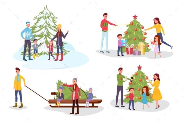 Christmas Celebration Vector Illustrations Set