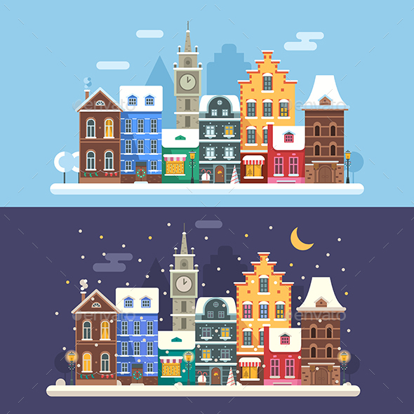 Europe Christmas City Winter Landscapes