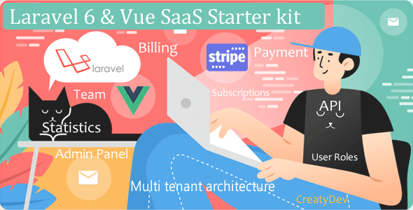 SaaSWeb, Laravel 6 & vue SaaS Starter kit Download