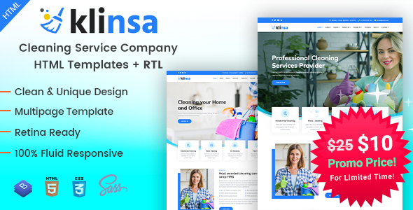 Klinsa - Cleaning Services Company HTML Templates