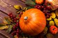 Fall decor with pumpkins, apples, viburnum - PhotoDune Item for Sale