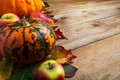 Fall decor with pumpkin, apples, copy space - PhotoDune Item for Sale