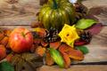 Fall pumpkin, cones, apple and yellow roses - PhotoDune Item for Sale