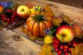 Fall wreath with pumpkin, purple flowers, apples - PhotoDune Item for Sale