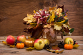 Fall leaves bouquet, pumpkins and apples, - PhotoDune Item for Sale