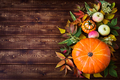 Rustic fall decor with pumpkin, apples, copy space - PhotoDune Item for Sale