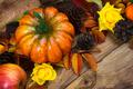 Fall pumpkin, cones, yellow roses arrangement - PhotoDune Item for Sale