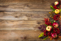 Rustic fall background with red leaves and apples - PhotoDune Item for Sale