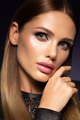 Beauty fashion portrait on blue wall background - PhotoDune Item for Sale