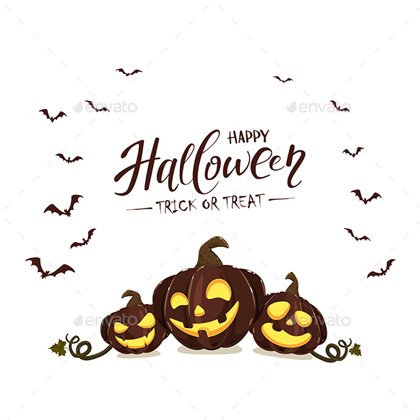 Halloween Pumpkins on White Background with Bats