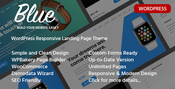 Blue - Single Product Landing Page WordPress Theme