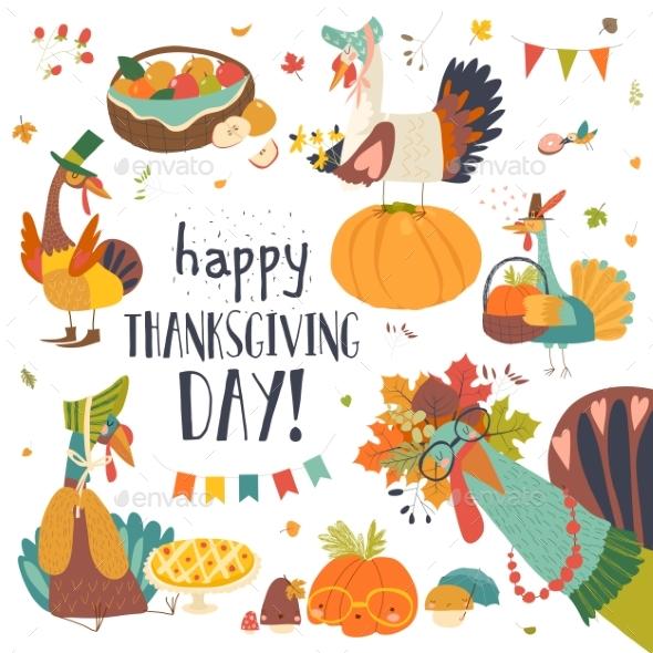 Turkeys with Thanksgiving Theme on White