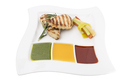 Chicken grilled briskets with three type sauces. This is isolated in a white background. - PhotoDune Item for Sale