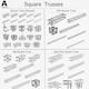 Square Light Trusses Collection - 50 PCS Modular - 3DOcean Item for Sale