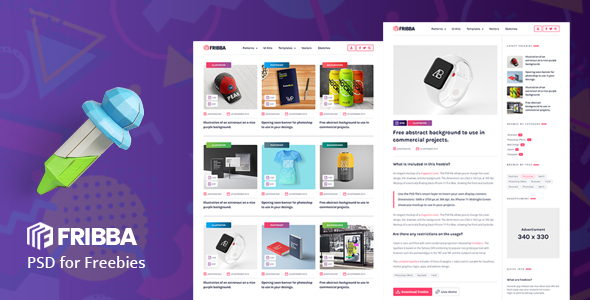 Fribba - PSD Template for Freebies