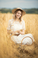 Young Attractive Woman And Golden Wheat Field. Harvest Concept. - PhotoDune Item for Sale
