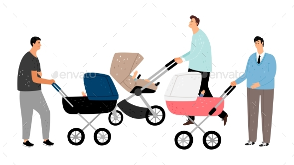 Fathers with Baby Stroller