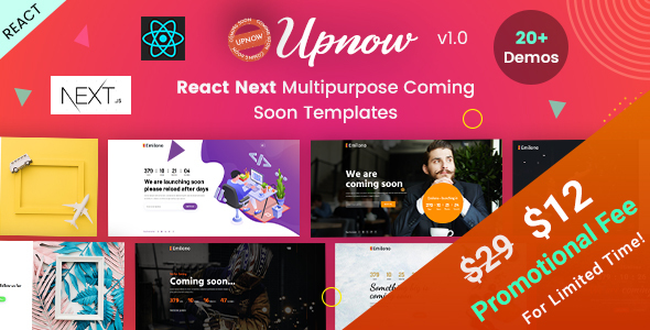 Upnow | React Next Under Construction & Countdown Templates