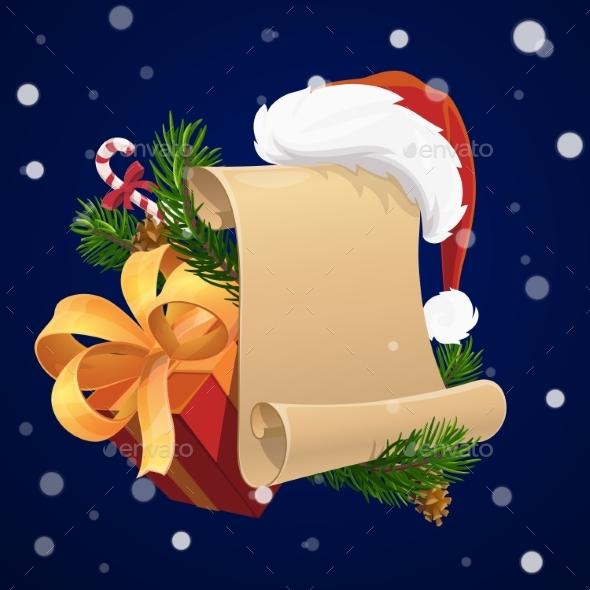 Christmas Scroll with Xmas Gift and Santa Hat