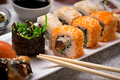 Sushi roll set with wasabi, ginger and soy sauce . - PhotoDune Item for Sale