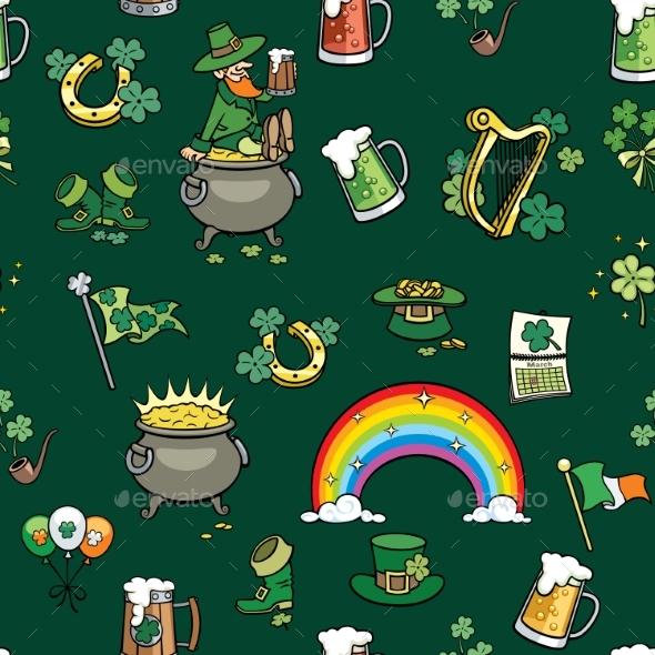 Saint Patricks Day Elements Pattern