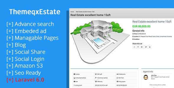 ThemeqxEstate - Laravel Real Estate Property Listing Portal Download