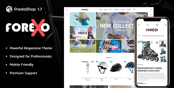 Forexo - Sports Apparel and Equipment PrestaShop Theme