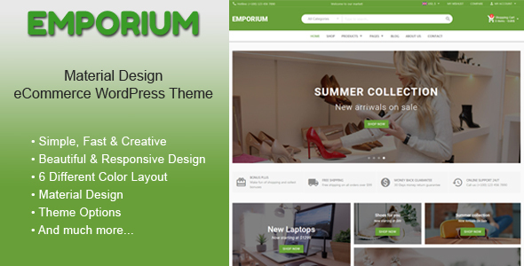 Emporium - Material Design eCommerce WordPress Theme