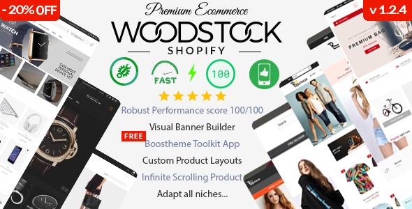 Woodstock - Fast Performance 100/100, Multipurpose Shopify Sections Theme with Visual Banner Builder