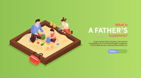 Kids With Dad In Sandbox