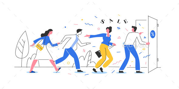 People Running to the Store on Sale