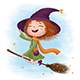 Funny Little Witch Flying on a Broomstick - GraphicRiver Item for Sale