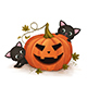 Kittens Play with Halloween Pumpkin - GraphicRiver Item for Sale